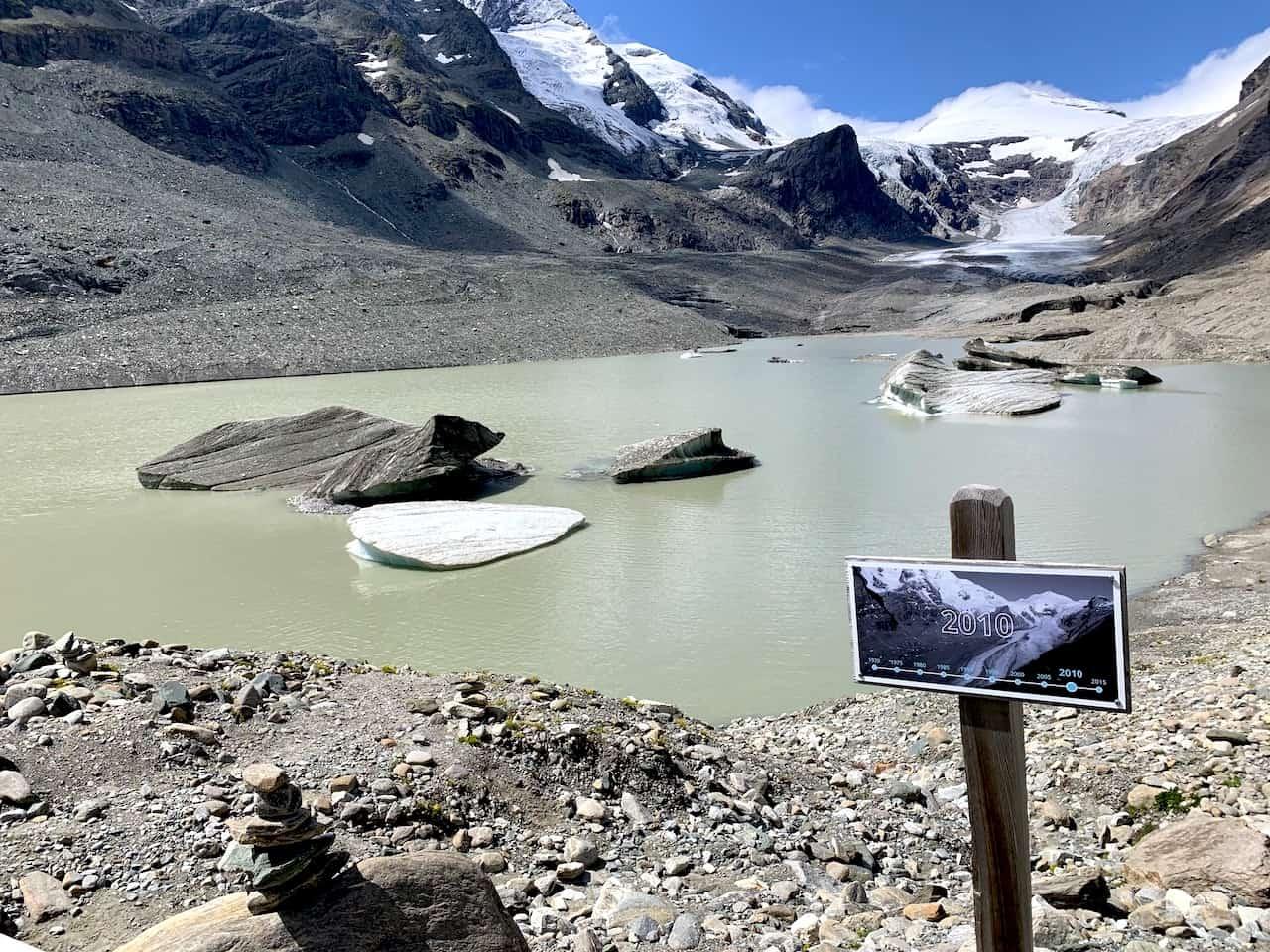 Pasterze Glacier Hiking Trail Sign