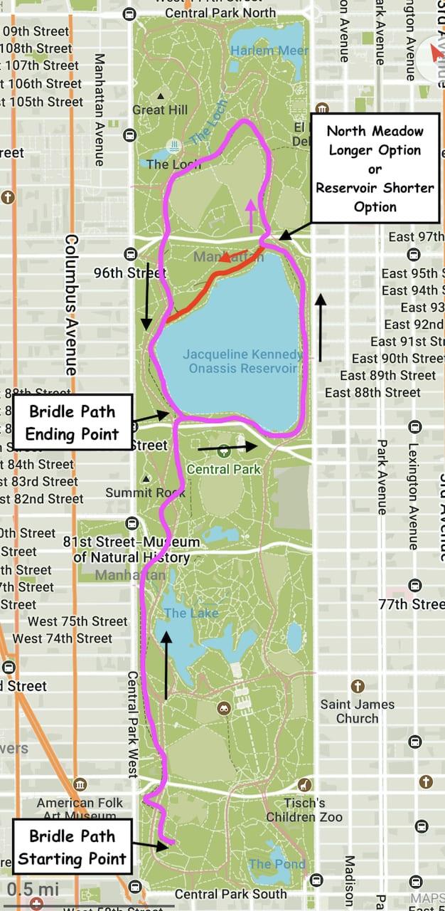 Central Park Bridle Path Map