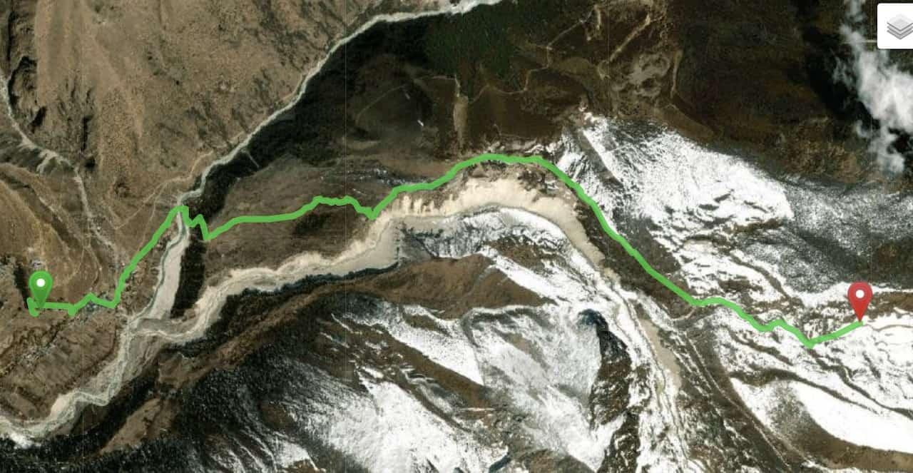 Pangboche to Ama Dablam Base Camp Map