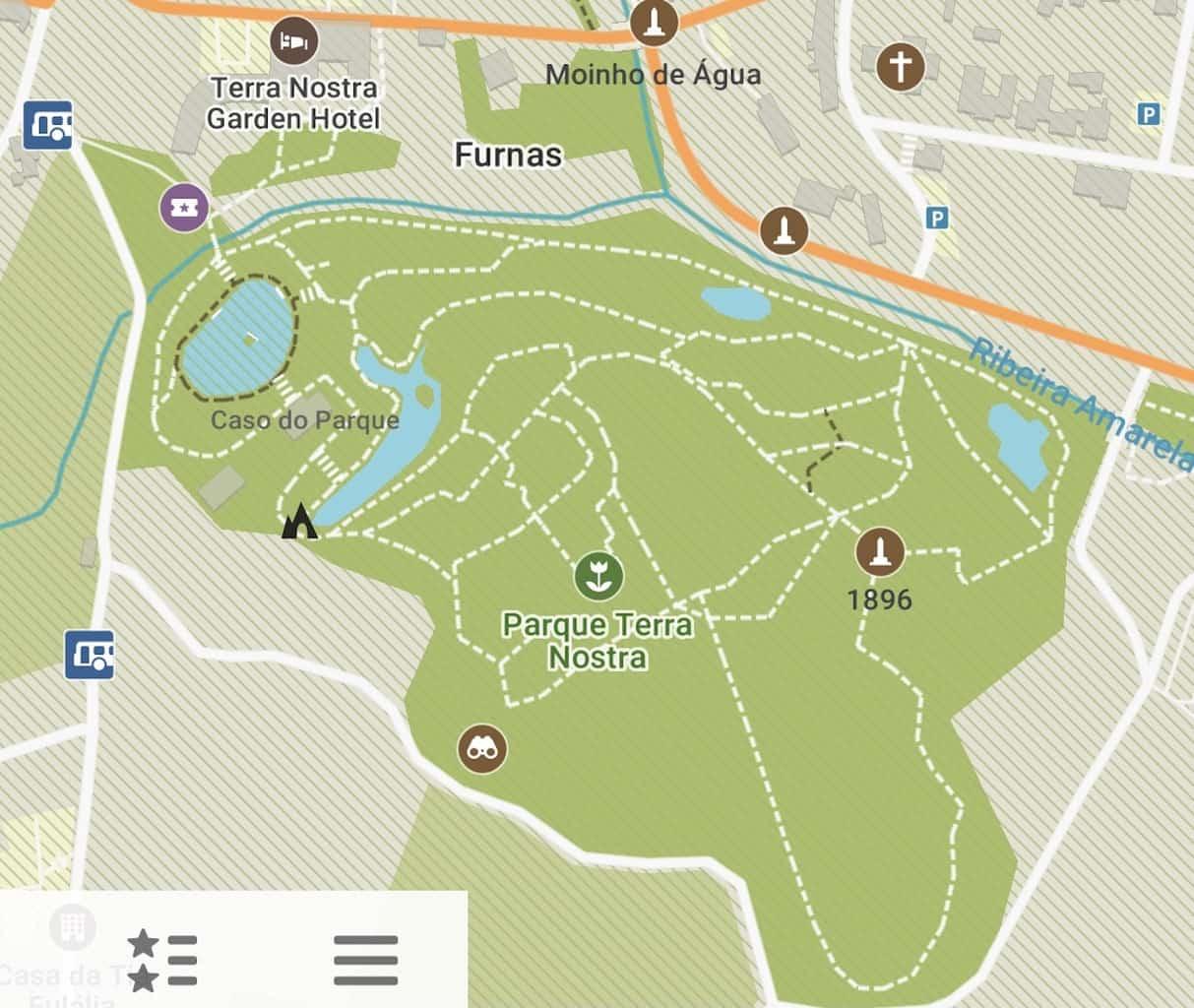 Parque Terra Nostra Map