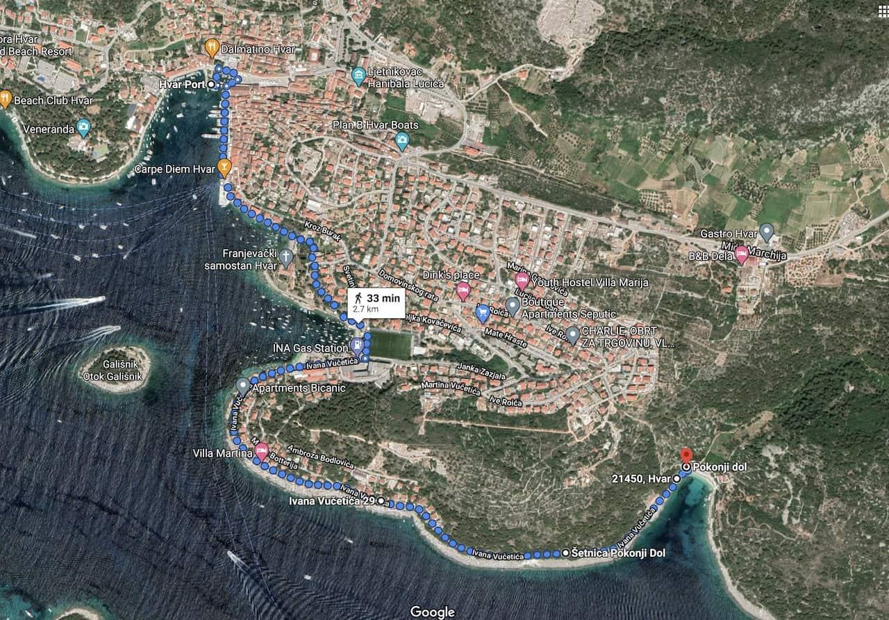 Pokonji Dol Beach Map