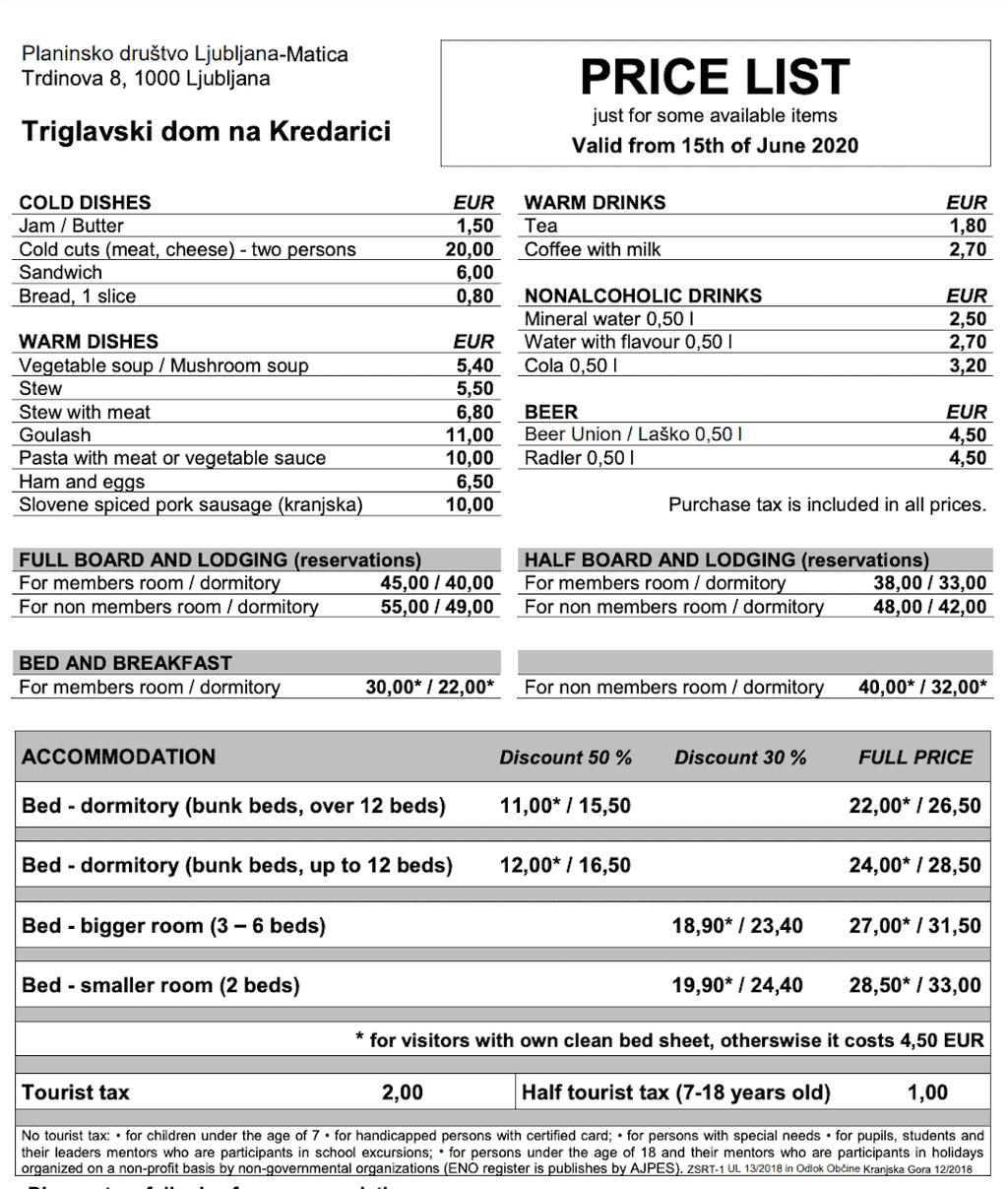 Kredarica Hut Pricing List