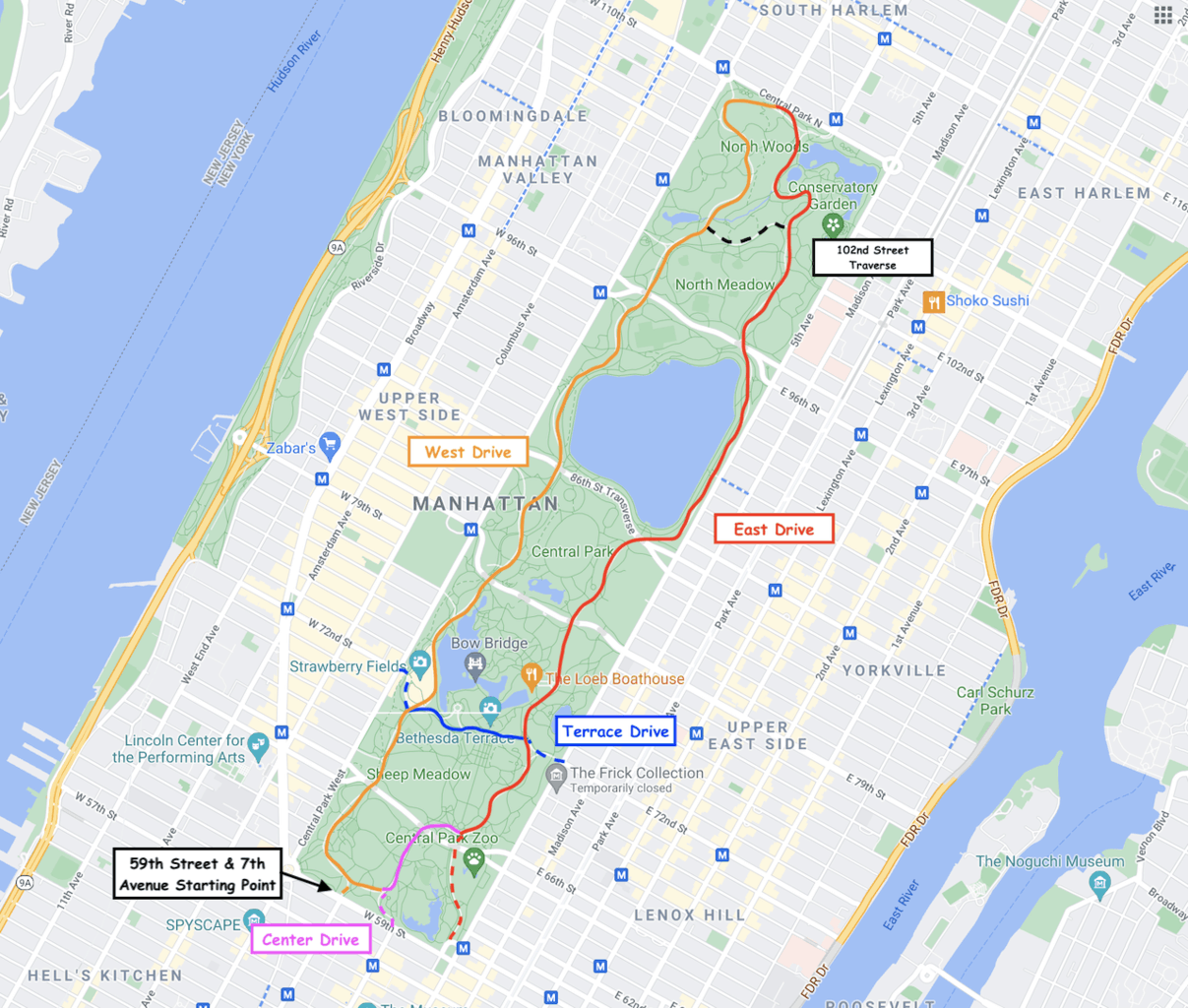 Central Park Full Loop Map & Routes