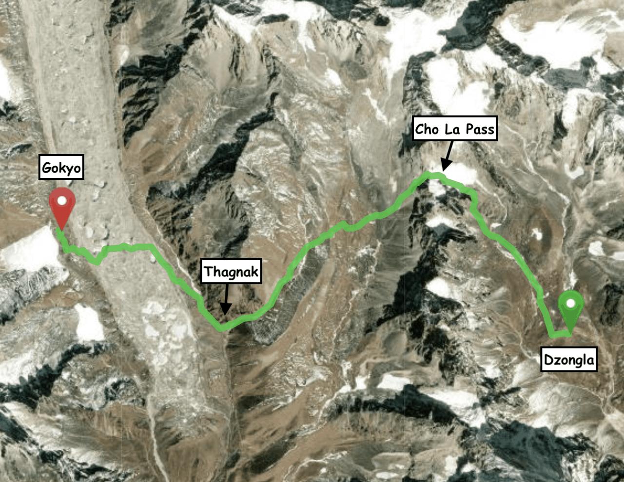 Cho La Pass Hike Map