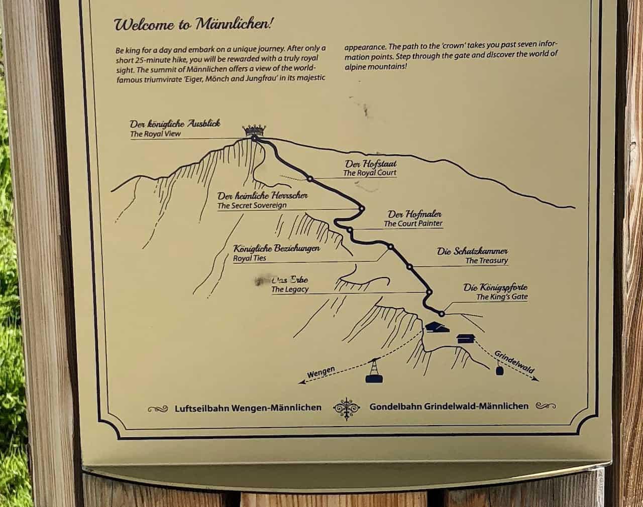 Mannlichen Hiking Map