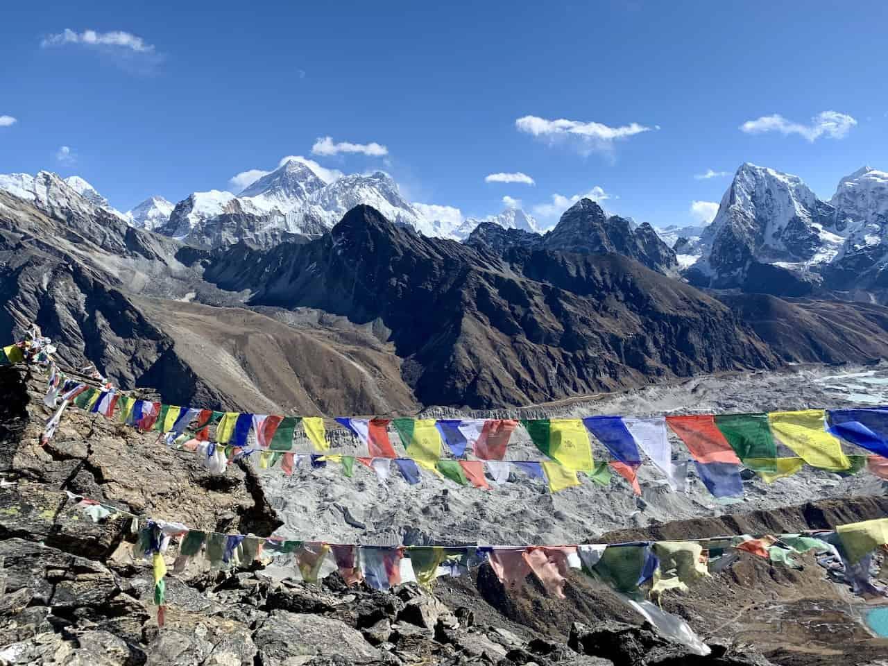 Sherpa Flags Ngozumpa Glacier