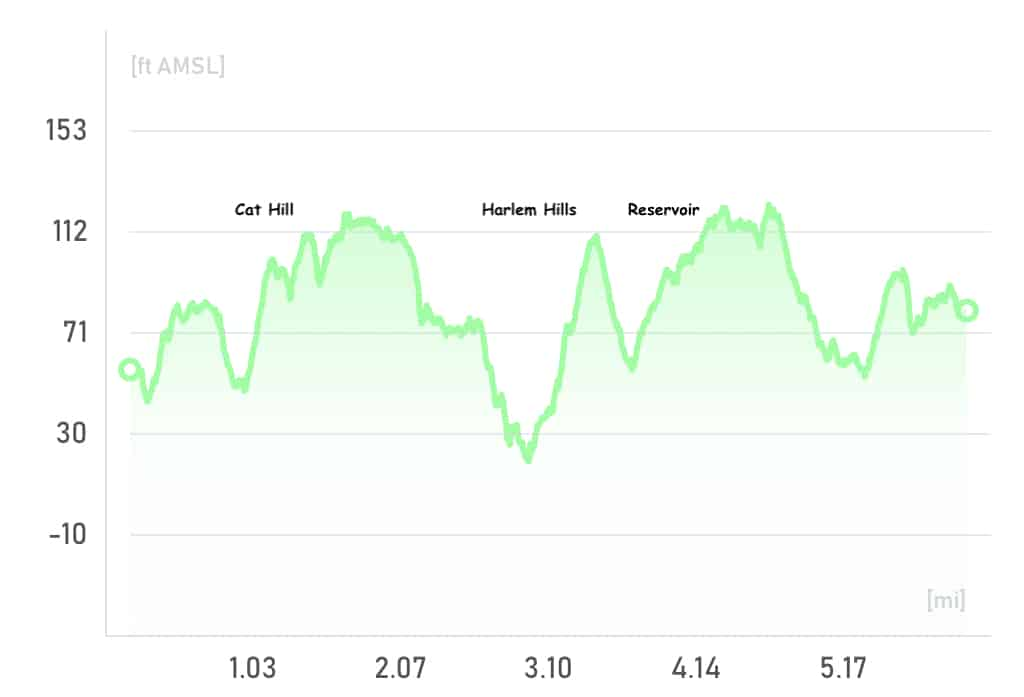 Central Park Loop Elevation Profile