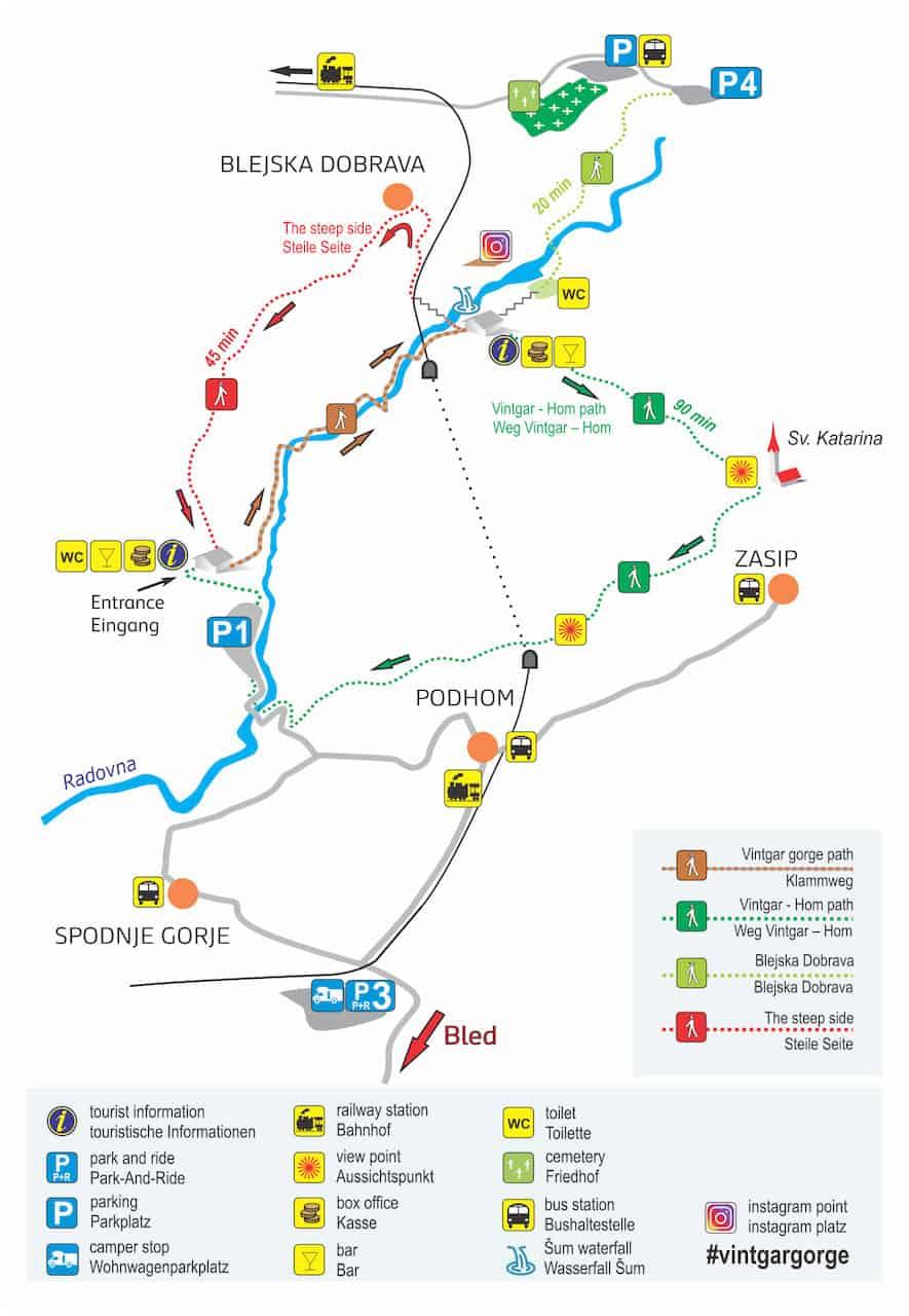 Vintgar Gorge Hiking Map