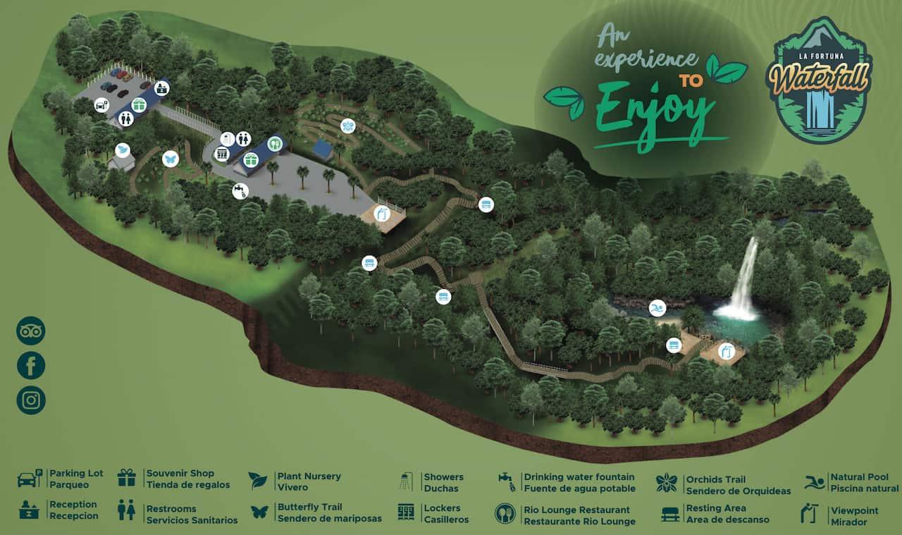 La Fortuna Waterfall Map
