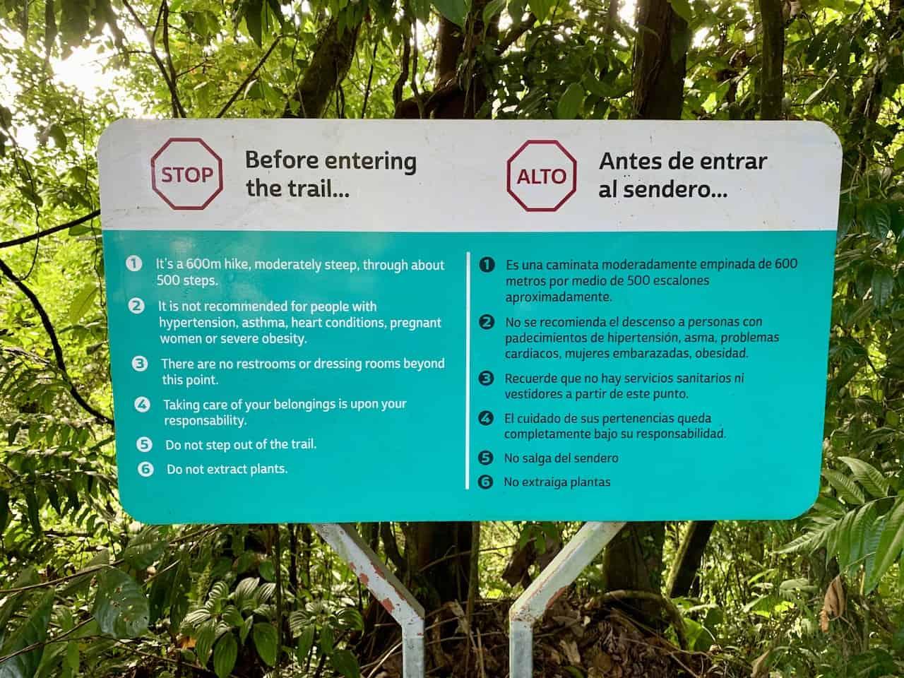 La Fortuna Waterfall Rules